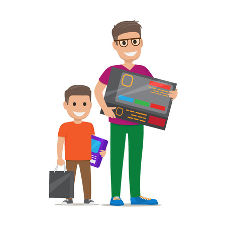 Father with Son Buying Electronics Flat Vector Illustration