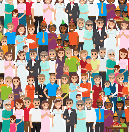 repeated: Family Members Standing in Repeated Long Rows Illustration