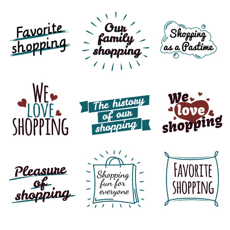 Shopping Label Logotypes Collection on White.