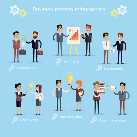 Business Process Infographics Collection on Blue