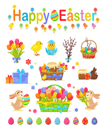 Happy Easter Traditional Elements Concept Poster