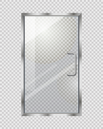 Transparent Door on Grey Checkered Background Illustration