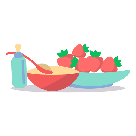 ration: Kids Healthy Ration Flat Vector Concept