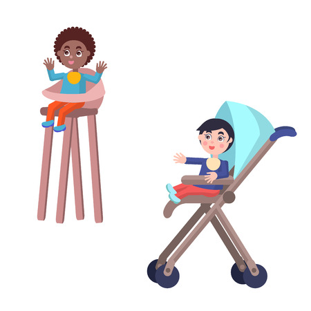 Toddlers In Baby Carriage and Highchair Vectors