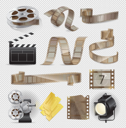 Movie Equipments Colourful Vector Collection. Illustration