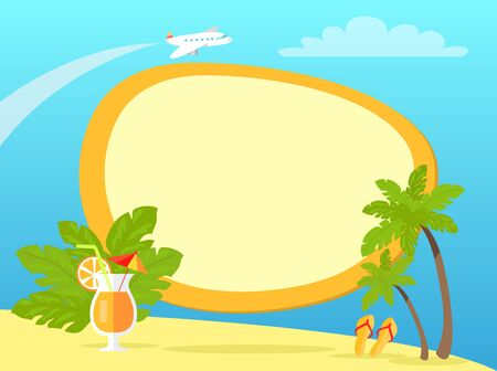 Tropical Island with Palms and Yellow Flip Flops Illustration