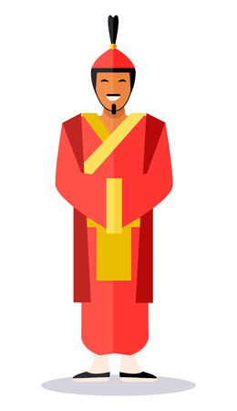 Ancient Chinese Soldier in Red Clothes on White Ilustrace