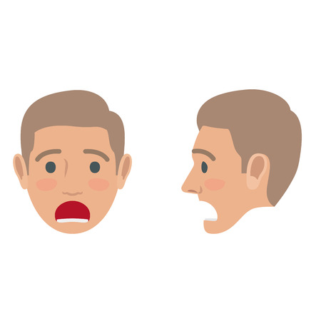 male face: Sad Man Avatar User Pic. Front and Side Head View Illustration