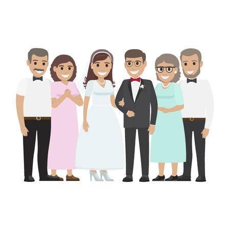 Wedding Family Together. Newlyweds Couple Design Illustration