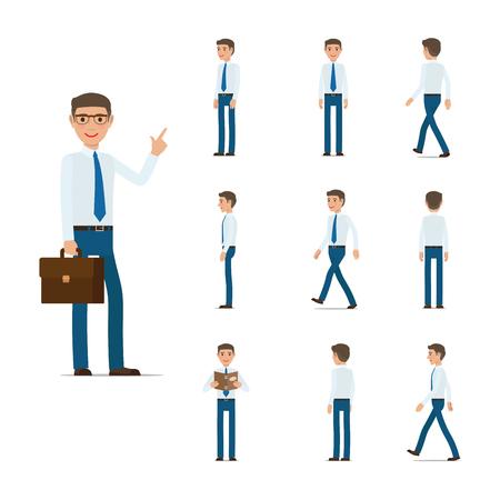 Hombre de negocios Character Collection Moving Steps. Ilustración de vector