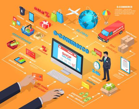 E-commerce Global Internet Purchasing Concept Stock Illustratie