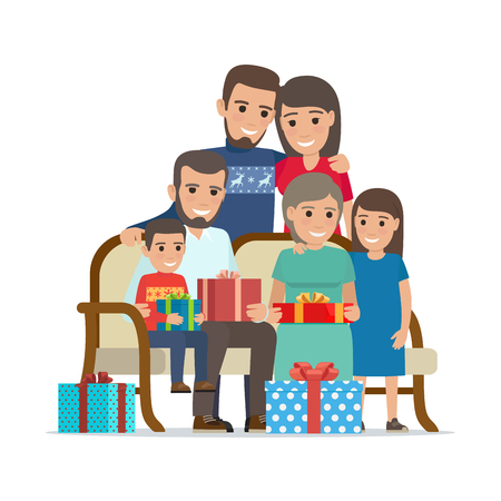 Family Gathered Together Holding Present Boxes