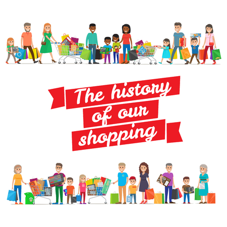 The History of our Shopping Concept with Families Illustration