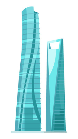 Skyscraper two glass buildings isolated on white. Traditional attribute of big cities for people living and for offices. Vector illustration of futuristic modern buildings with huge glass Illustration