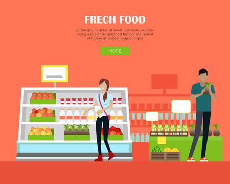 mujer en el supermercado: Fresh Food Store Concept Banner in Flat Design.