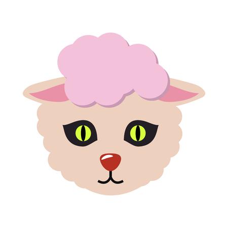 Sheep Animal Carnival Mask. Cute Wooly Lamb Ilustração