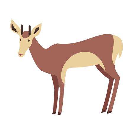 Young Deer Vector Illustration in Flat Design