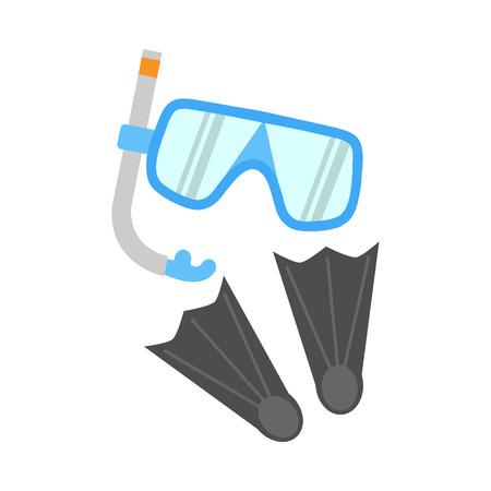 Tubo de respiración, aletas y máscaras aisladas en blanco