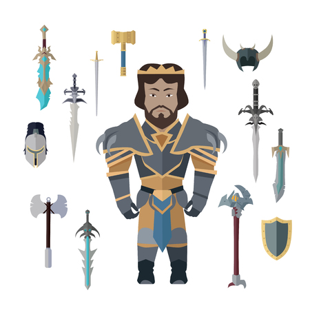 Fantasy Knight Character with Weapons.