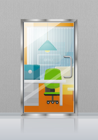 Glass transparent Door in Grey Wall with Nameplate