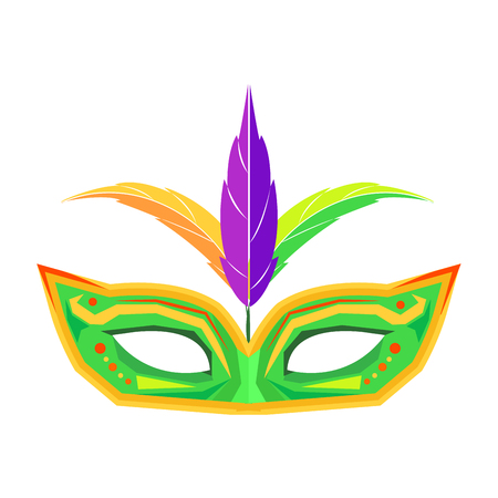 Mardi Gras Mask with Feathers Isolated