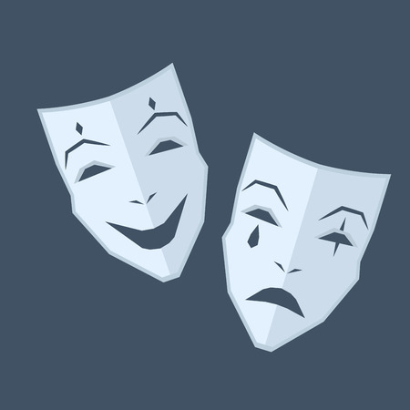 Mardi Gras. Two Masks with Different Emotions