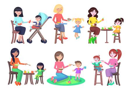 Madri che alimentano le loro icone dei bambini messe su bianco