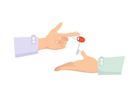 One Hand Giving Key à un autre. Processus d'achat Banque d'images - 74015049