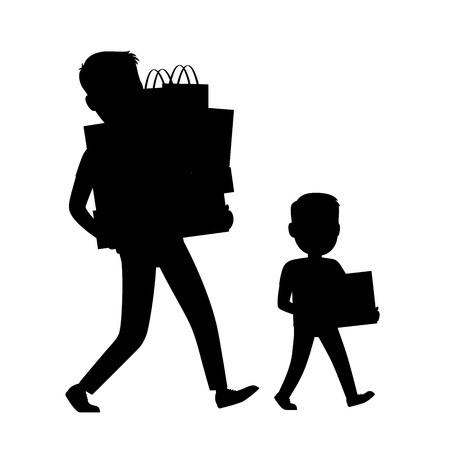 Father and Son Silhouettes Carrying Purchases Illustration