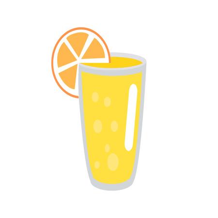 Lemonade with Orange Slice in Glass Illustration Illustration