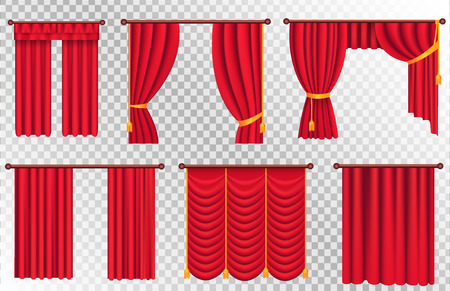 Red Curtains Set. Theater Curtain Illustration Ilustração
