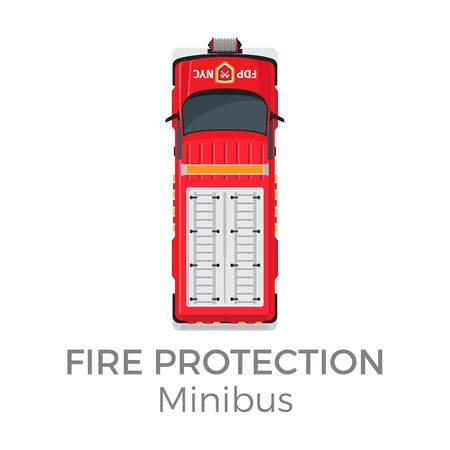 Fire Protection Minibus Means of Transportation Illustration