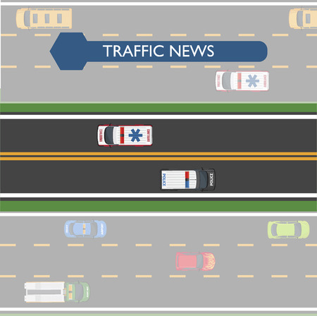 highroad: Traffic News Icon with Road Lines and Transport