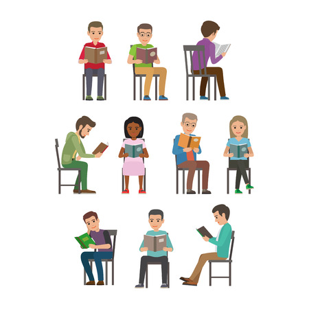 People Seating and Reading Textbook Flat Vector Illustration