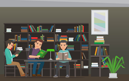 erudition: Students Reading Textbook in Library Flat Vector