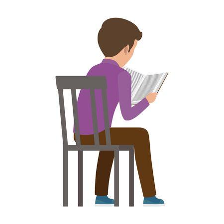 Chico pasa tiempo leyendo libro Vista desde atrás Ilustración de vector