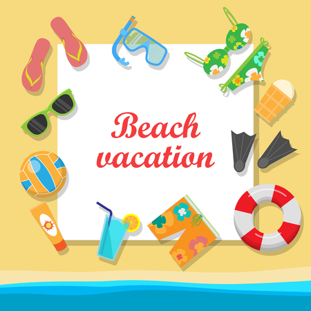 seacoast: Beach vacation vector concept with place for text. Leisure on seacoast. Coastline with stuff for summer resting and entertainment on sand. For travel company ad, vacation concept, web design