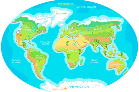 Continents, Oceans on Map of World. Our Planet. Ilustração
