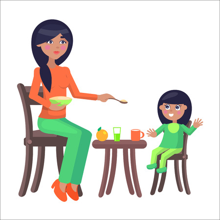 Young brunette mother sits on chair and feeds her daughter with porridge and her little daughter eats it. Illustration of motherhood. Cartoon family. Vector illustration for Happy Mother Day. Illustration