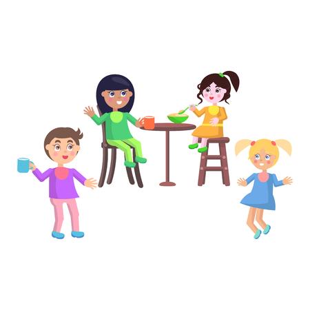 Set of children asking for food, eating or jumping. Happy children spending time in kindergarten.