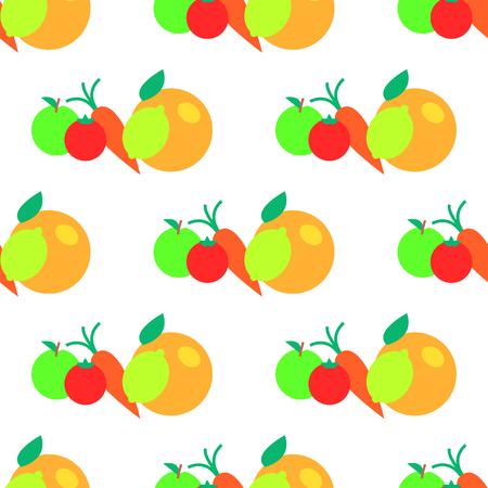Fruits and vegetables cartoon seamless pattern. Orange, apple, tomato and carrot flat vector isolated on white. Ilustrace