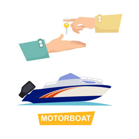 Buying blue and white speed motorboat on white background. Boat selling encouraging customers vector illustration.