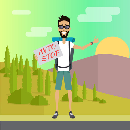 Smiling Young Man Hitchhiking Stock Vector - 74182954