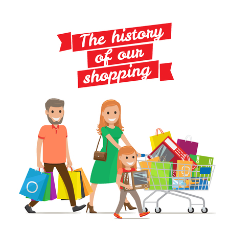History of our Shopping. Family with Cart Set Illustration