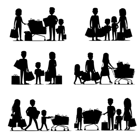 black people: Black Silhouettes of People Groups Doing Shopping