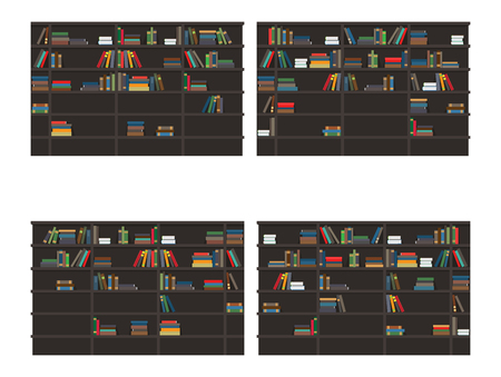 Set of Bookshelves Filled with Books Flat Vector Illustration