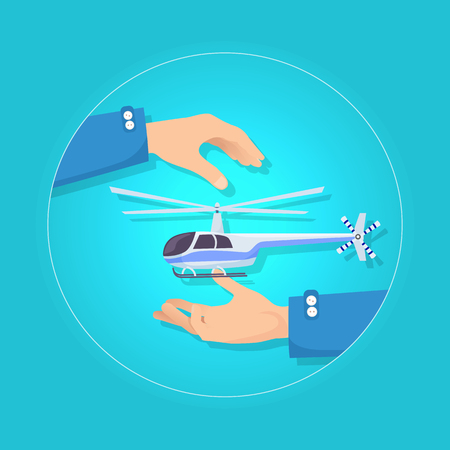 Fast Blue and Gray Helicopter on Blue Background Stock Photo