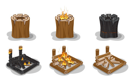 raw materials: Campfire Set Isolated on White Vector Poster. Stock Photo