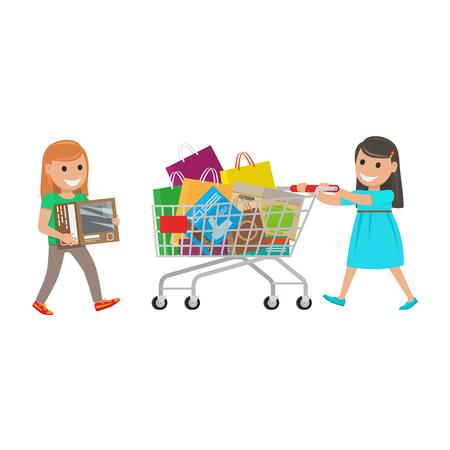 슈퍼마켓에서 쇼핑을하는 2 명의 어린 소녀들.