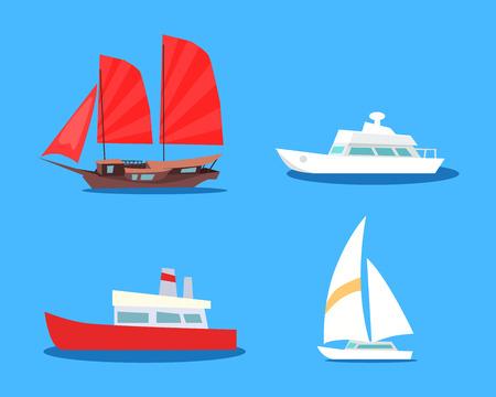 Set van zeilen en motorboten Vector iconen Stock Illustratie